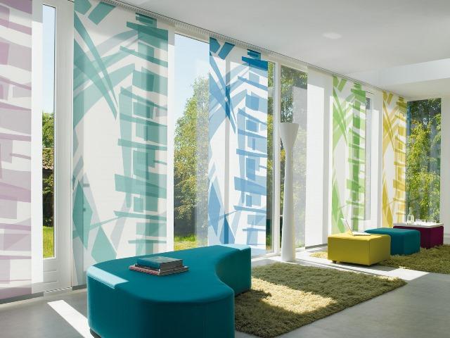 Barevné kombinace panelových posuvných stěn